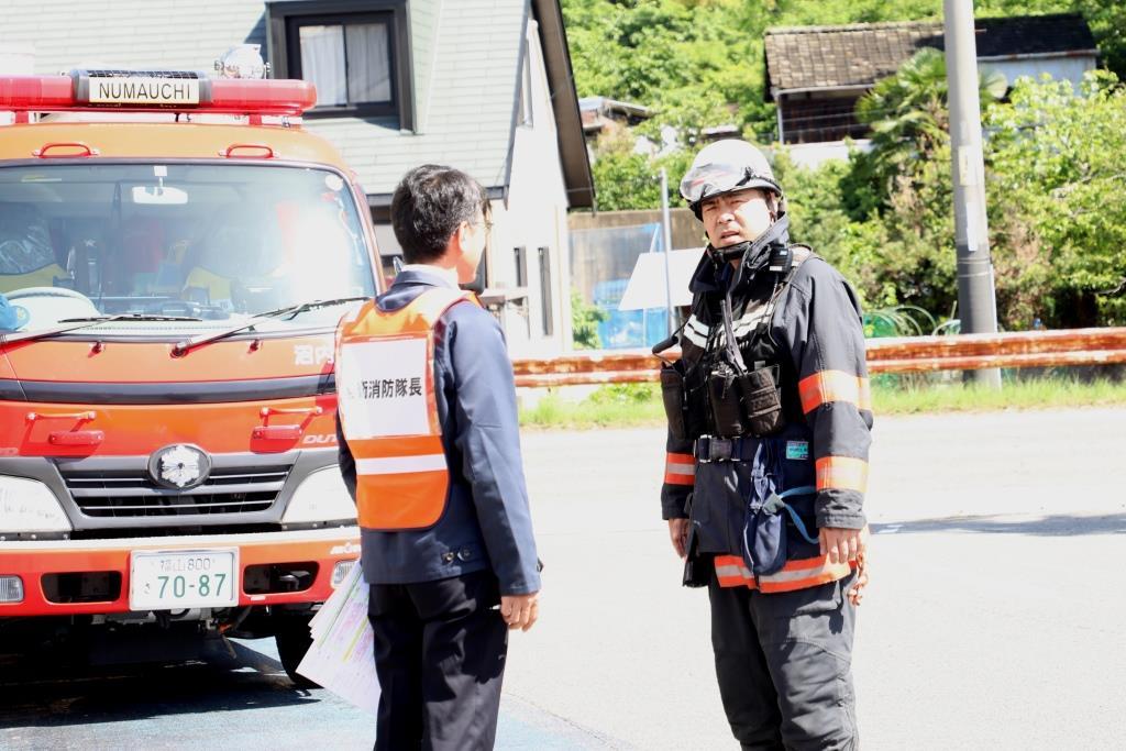 消防隊へ状況報告